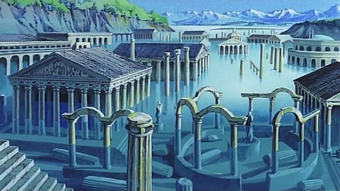 ルパン三世カリオストロの城 湖中の遺跡